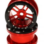 Billet Machined Alloy T2 Dual 5 Beadlock Wheel (2) for Axial Wraith w/ 12mm Hex (Red)