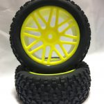 Off Road Glued Rims + Tires Yellow 12mm for 1/10 Scale Buggy*
