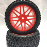 Off Road Glued Rims + Tires Red 12mm for 1/10 Scale Buggy*