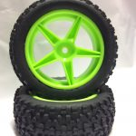 Off Road Glued Rims + Tires Green 12mm for 1/10 Scale Buggy*