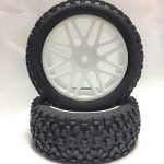 Off Road Glued Rims + Tires White 12mm for 1/10 Scale Buggy*