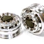 Billet Machined Alloy T6 Front Wheel Set For Tamiya 1/14 Scale Tractor Trucks+