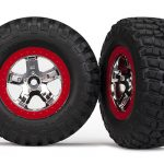 Tires & wheels, glued (SCT chrome, red beadlock style)*