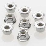 TRA3647- Nuts, 4mm flanged nylon locking (steel, serrated) (8)