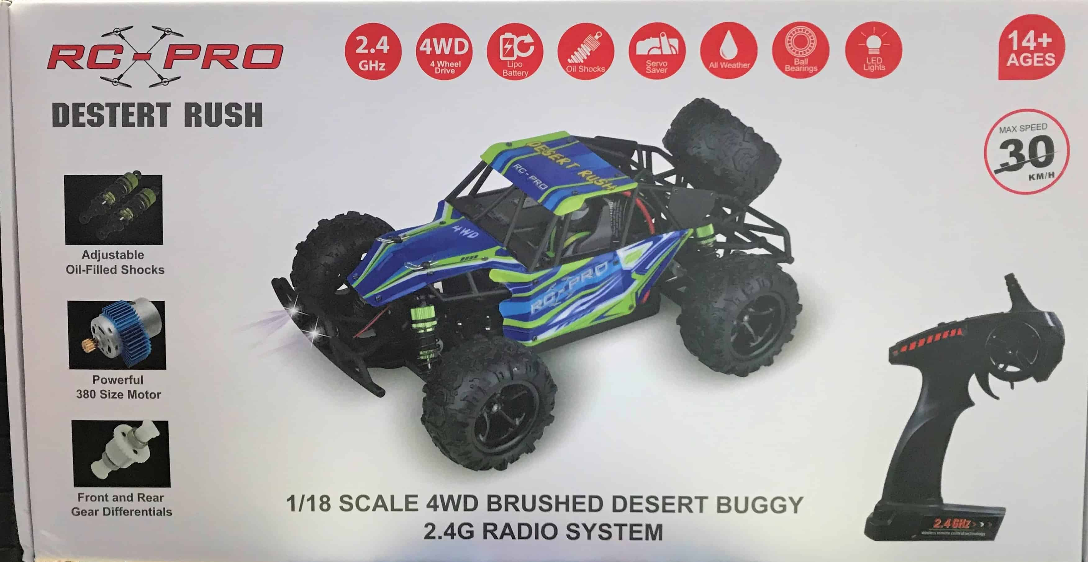 RC PRO DESERT RUSH 1/18 Upgraded RTR 4WD Buggy with LED lights